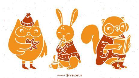Herbsttiere detaillierte Silhouetten