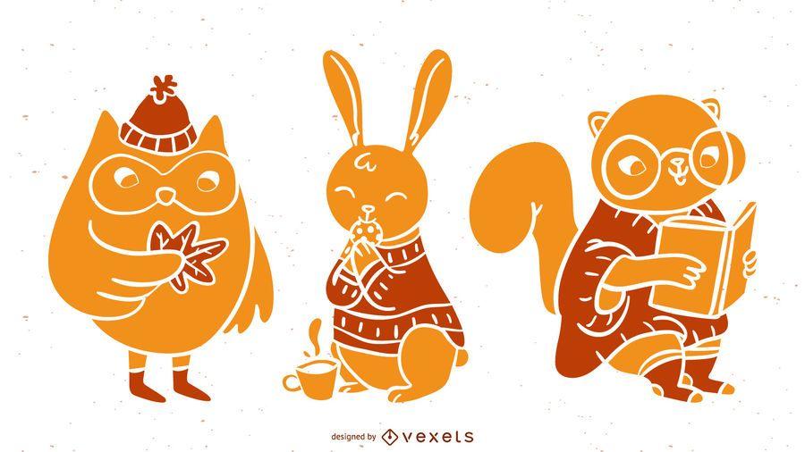 Silhuetas detalhadas de animais de outono