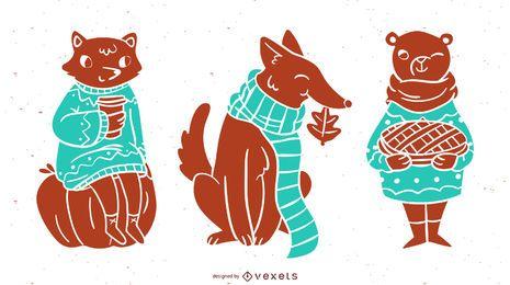 Conjunto de silueta de animales otoñales