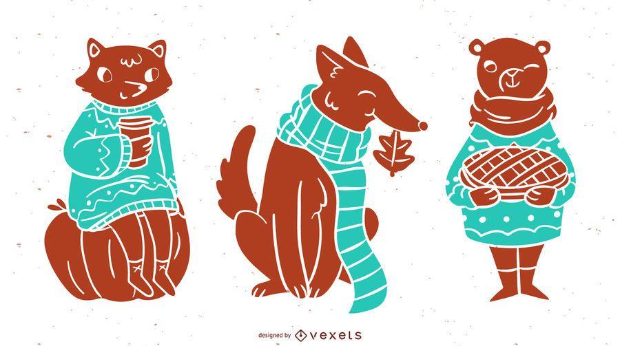 Conjunto de silhueta de animais outono