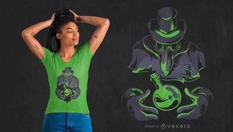 Diseño de camiseta Plaga Doctor Flask