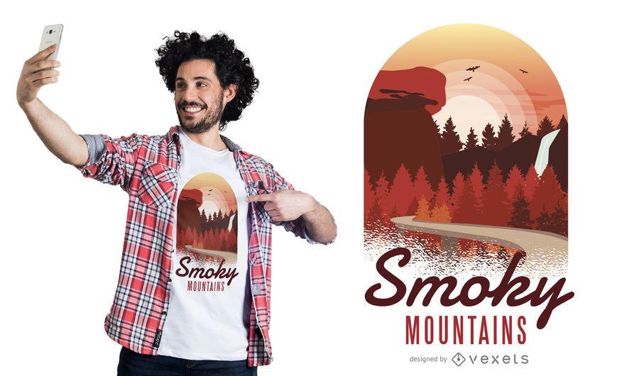 Projeto fumarento do t-shirt das montanhas