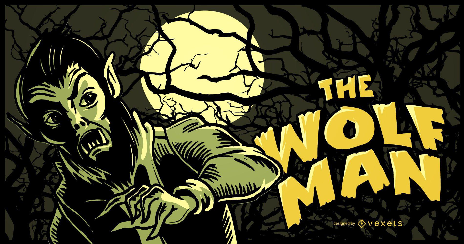 Ilustración de hombre lobo