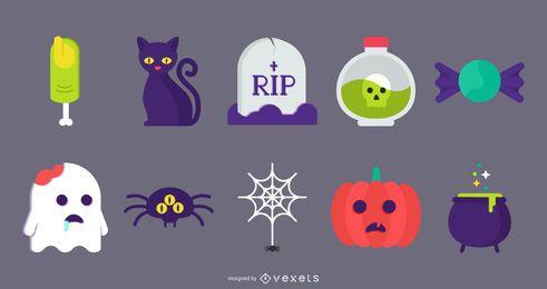 Halloween-flache nette Ikonen-Vektoren