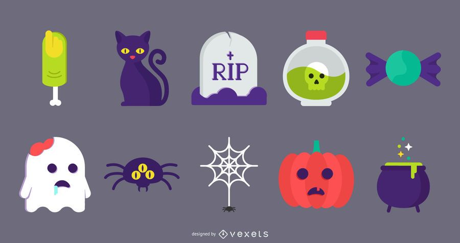 Halloween Flat Cute Icon Vectors