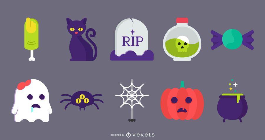Vetores de ícone bonito liso de Halloween