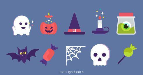 Conjunto de iconos planos de Halloween