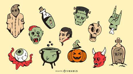Ilustração de elementos de Halloween