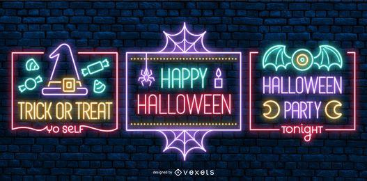 Rótulos de estilo de néon de Halloween