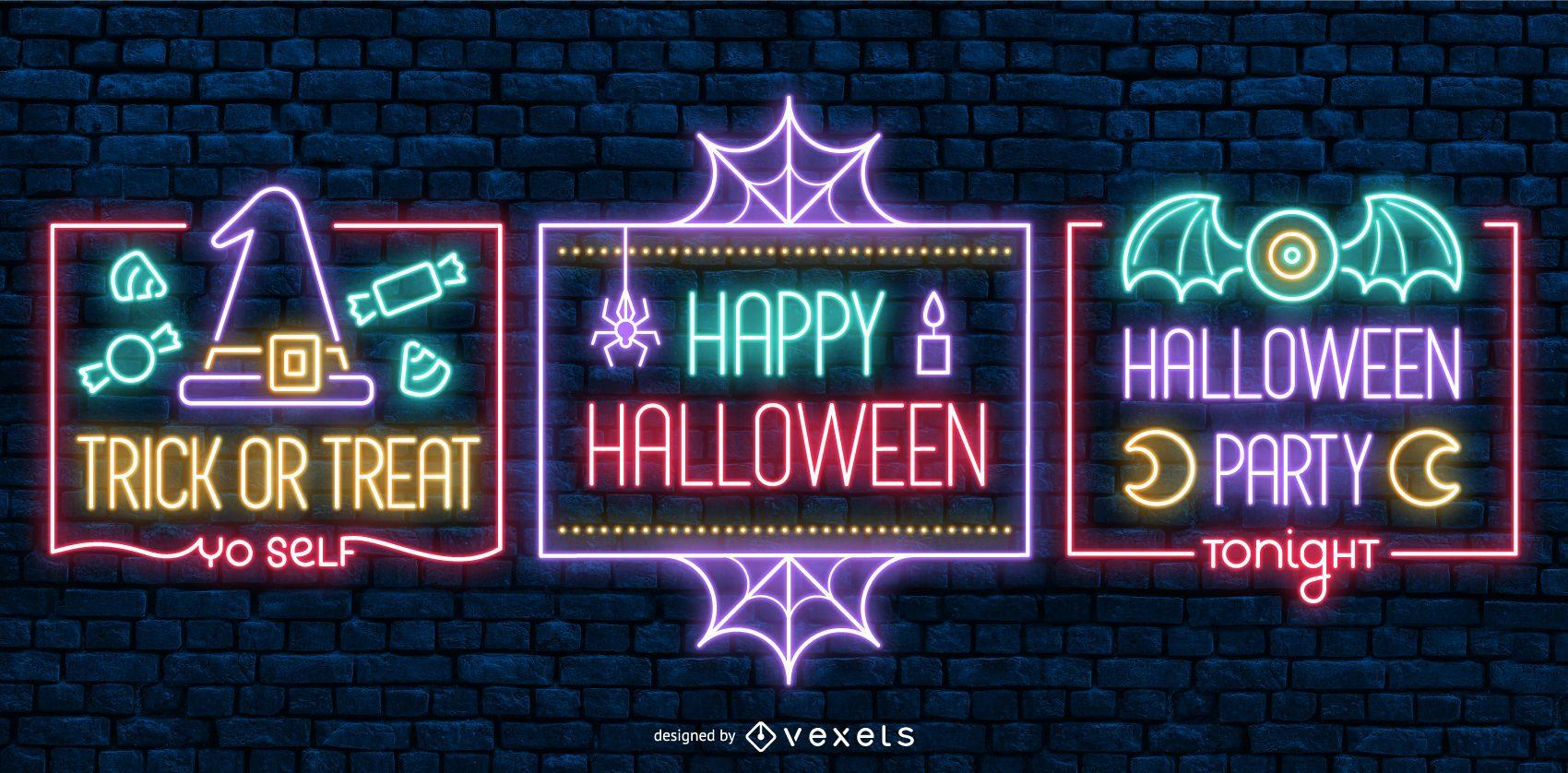 Etiquetas de estilo neón de Halloween