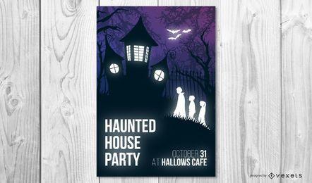 Cartaz de halloween de festa em casa assombrada