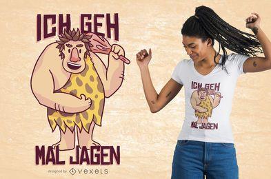 Projeto alemão do t-shirt do homem das cavernas feliz