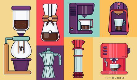 Ilustração de máquinas de café