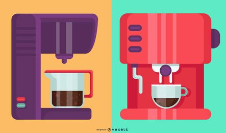 Ilustração colorida de máquinas de café