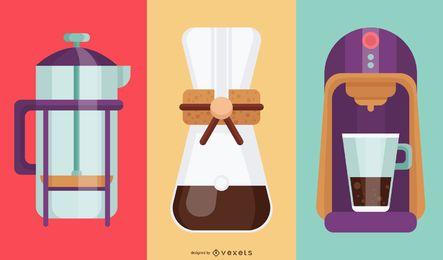 Ilustração colorida de cafeteiras