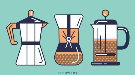 Conjunto de trazos de cafeteras