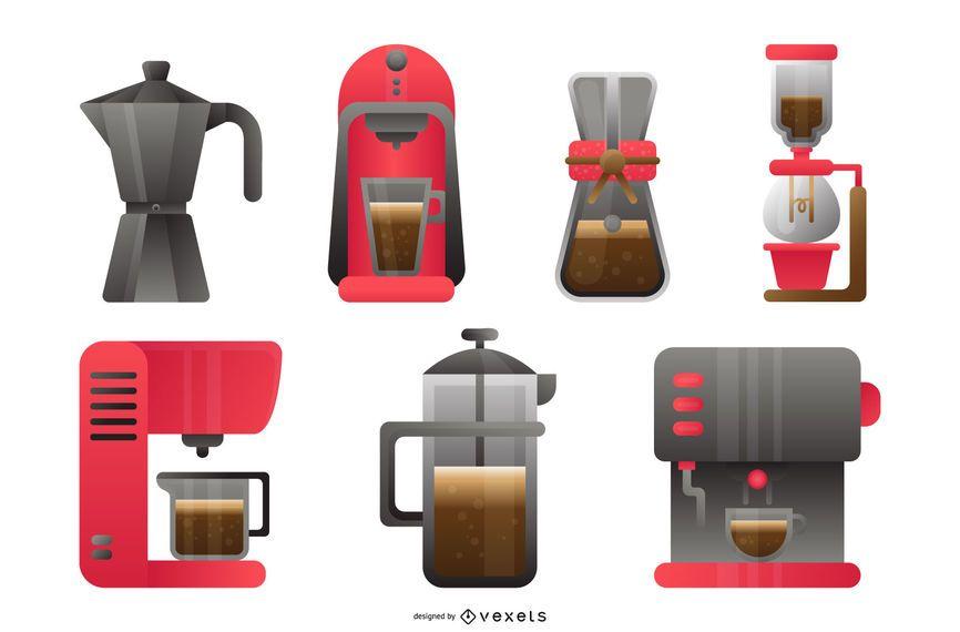 Conjunto de Design de Cafeteira