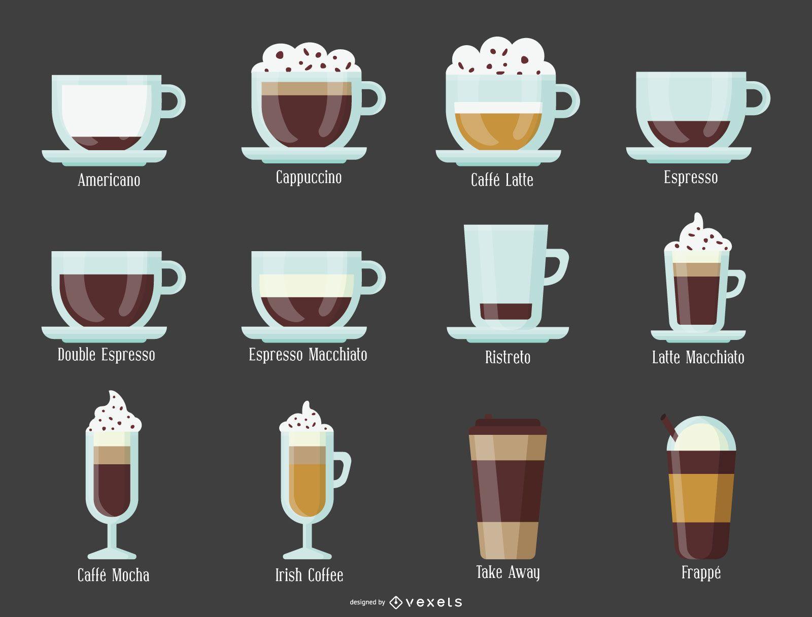 Ilustración de tipos de café