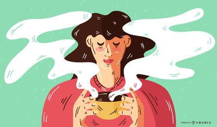 Woman Drinking Coffee Vector Illustration