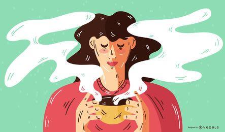 Woman Drinking Coffee Vector Illustration