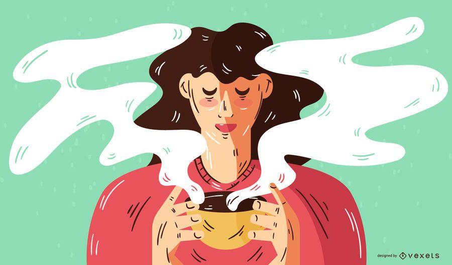 Mujer bebiendo café ilustración vectorial