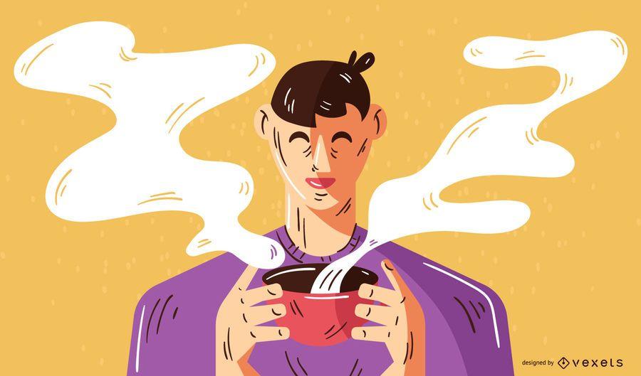 Homem, bebendo, café, ilustração