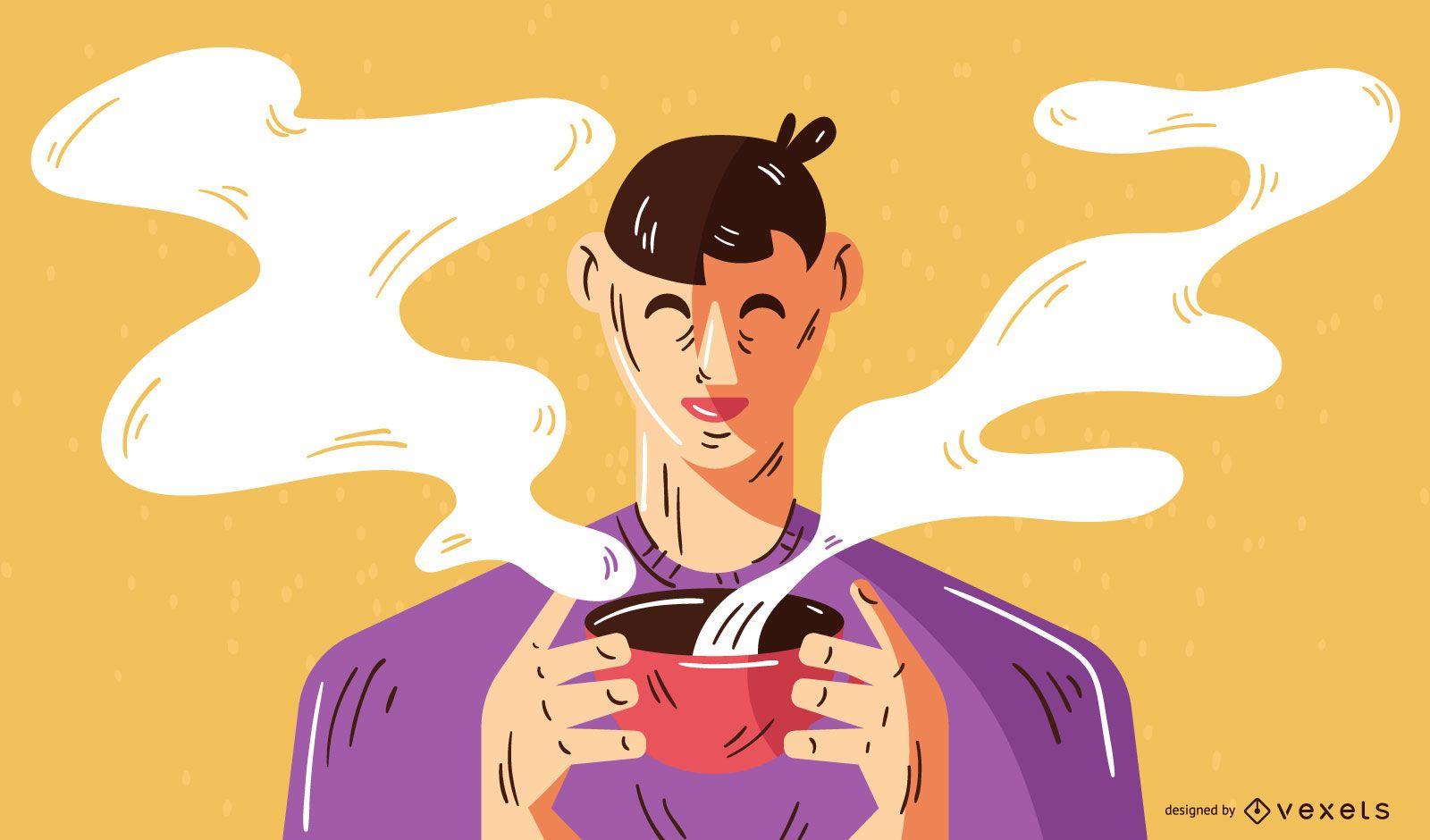Man Drinking Coffee Illustration