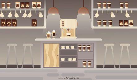 Ilustração moderna cafeteria plana