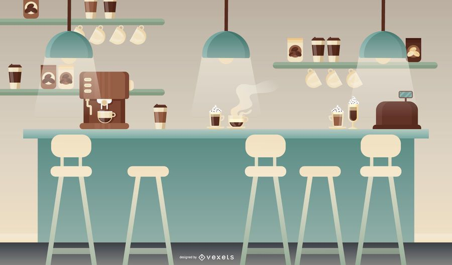 Flat coffee shop illustration