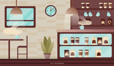 Ilustración de cafetería moderna