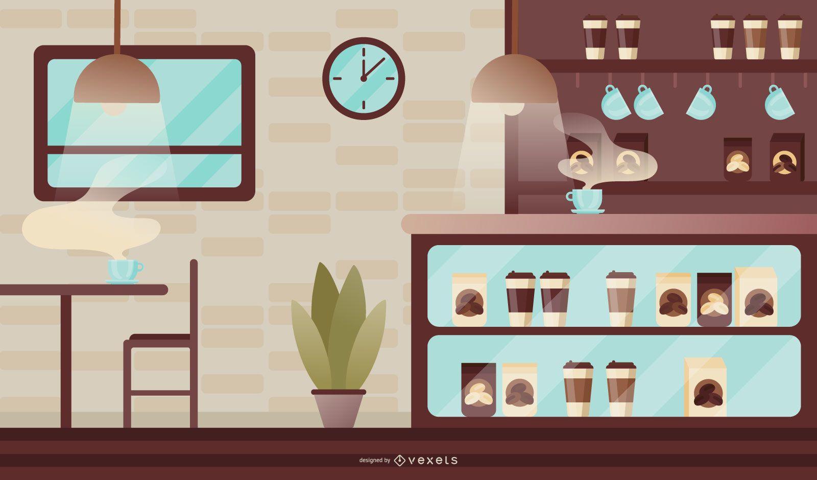 Modern coffee shop illustration