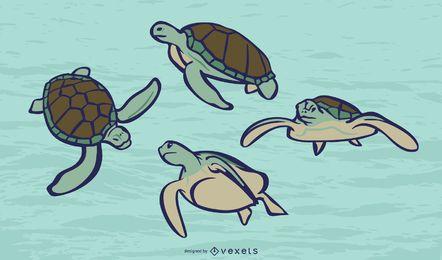 Conjunto de vector de color de tortuga marina