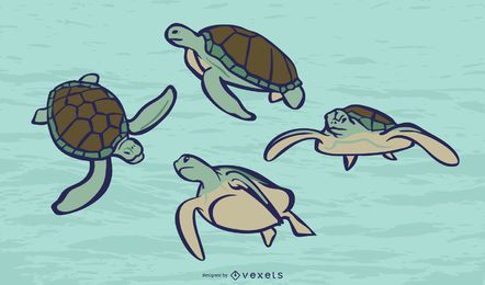 Sea turtle color vector set