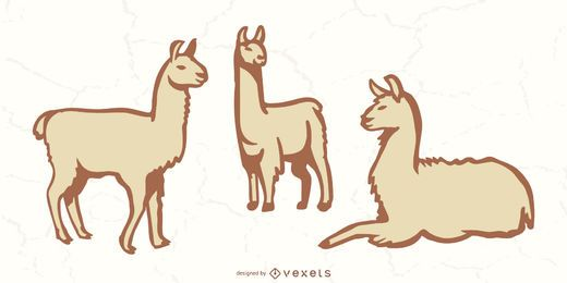 Conjunto de cores de doodle de lhama