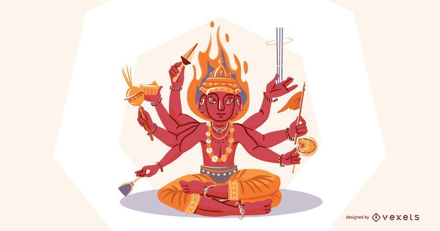 Ilustración de dios hindú Agni