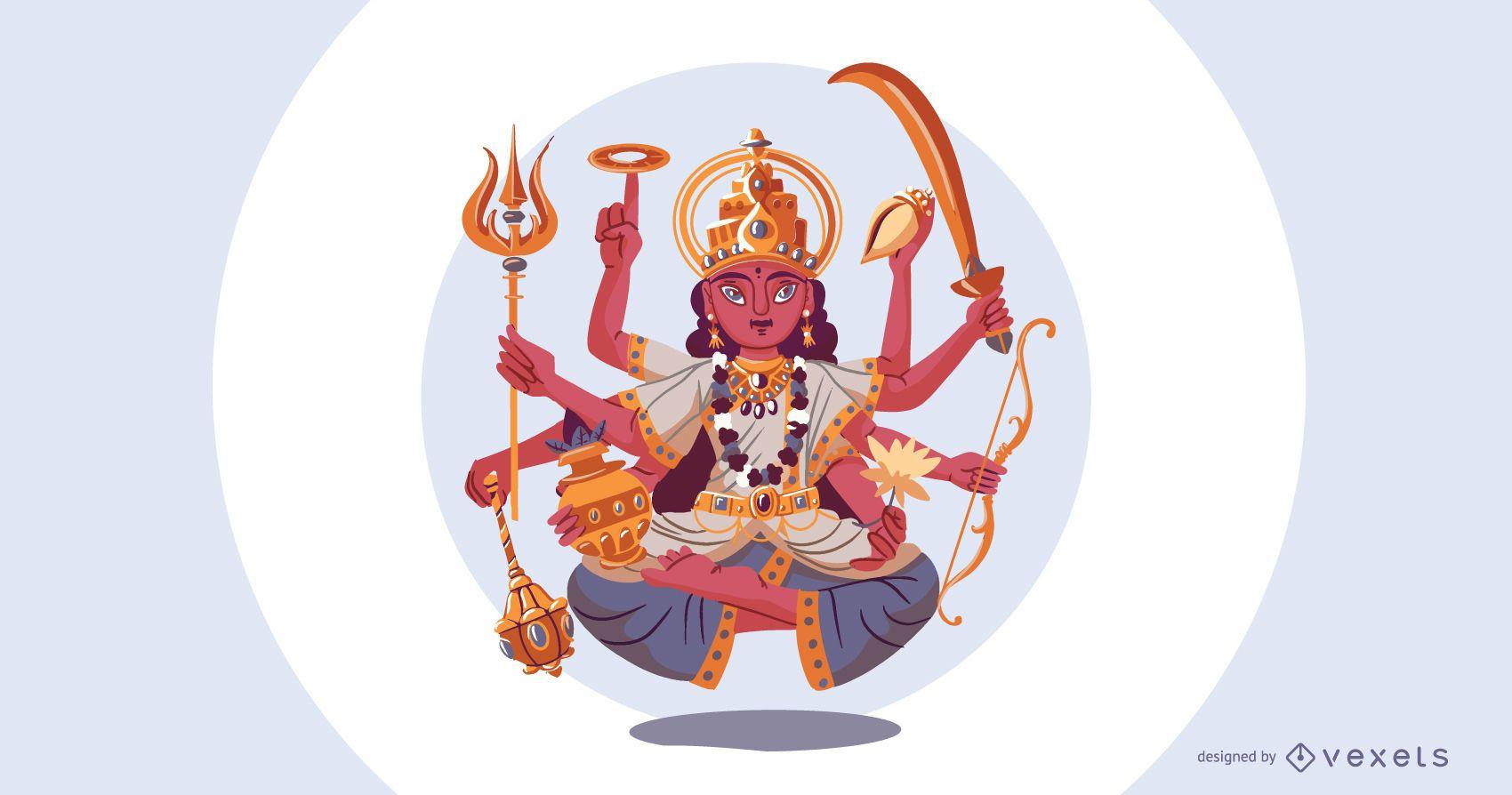 Hindu goddess Durga illustration
