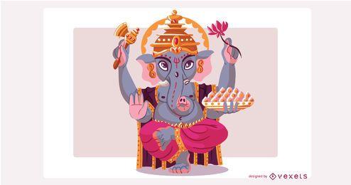 Dios hindú Ganesha ilustración