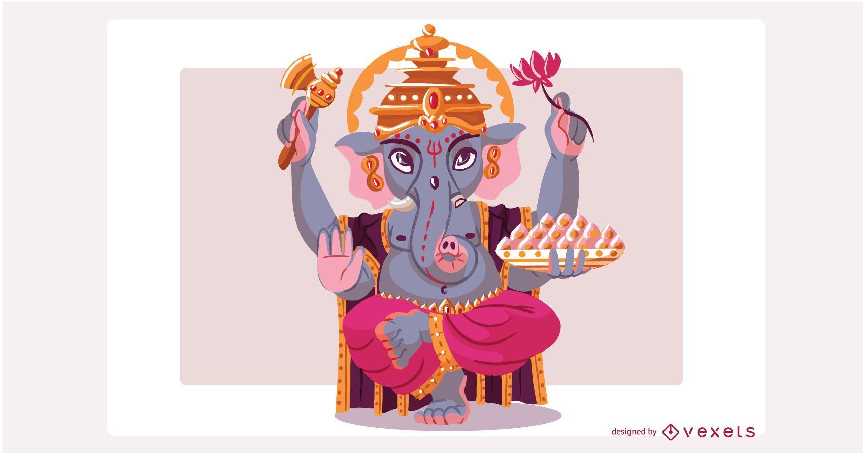 Ilustración de dios hindú Ganesha