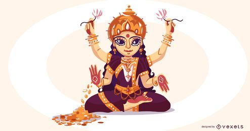 Hindu goddess lakshmi illustration