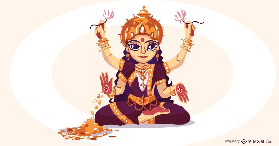 Hindu goddess lakshmi illustration