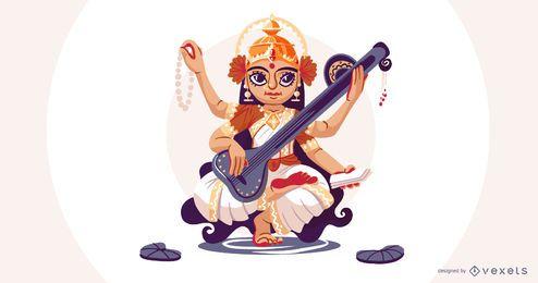Deusa hindu Saraswati ilustração