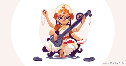 Hindu goddess Saraswati illustration