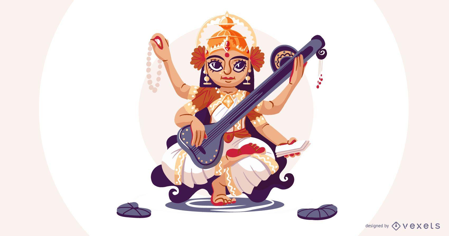 Hindu goddess Saraswati illustration