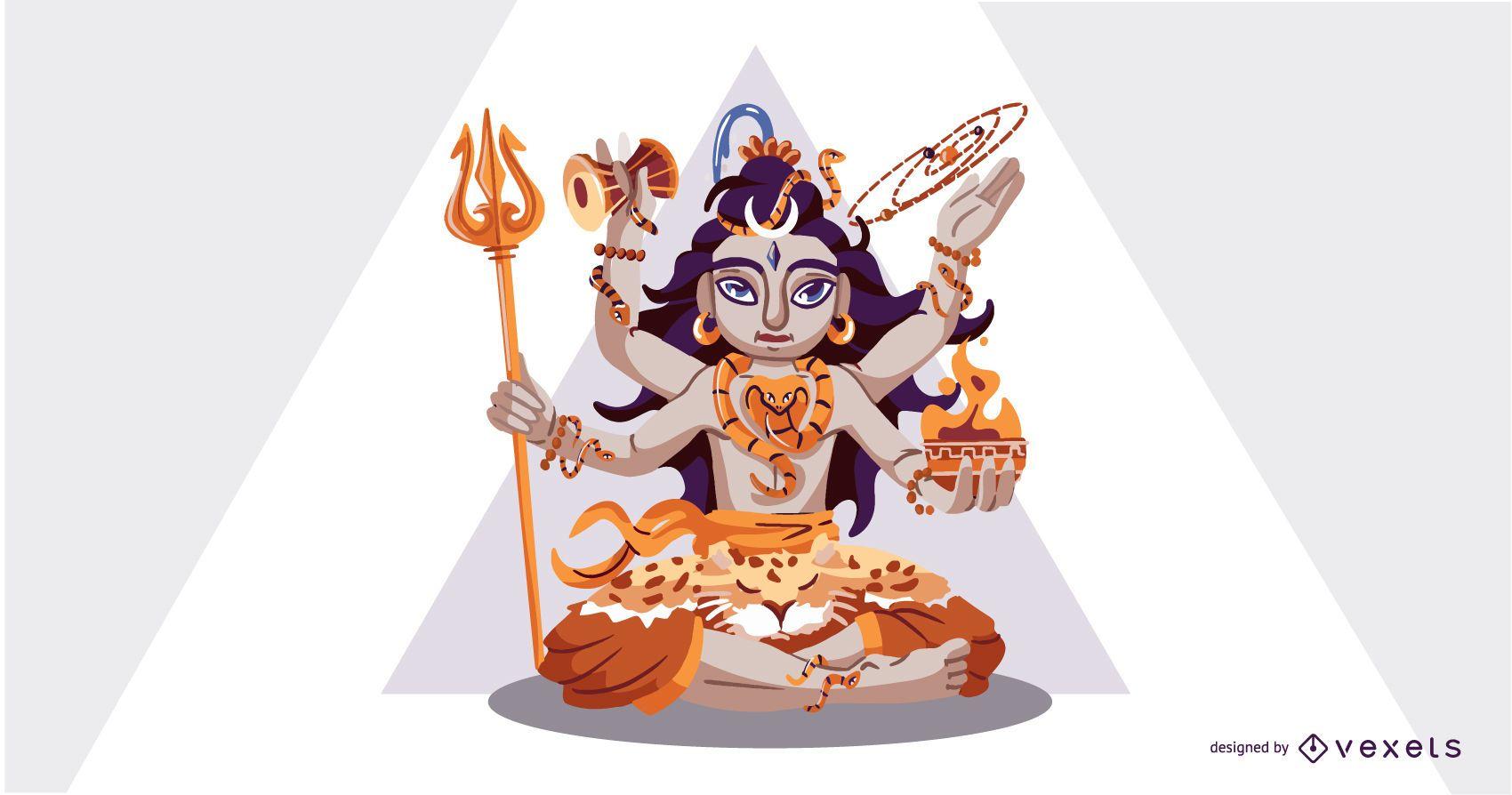 Ilustración de dios hindú Shiva