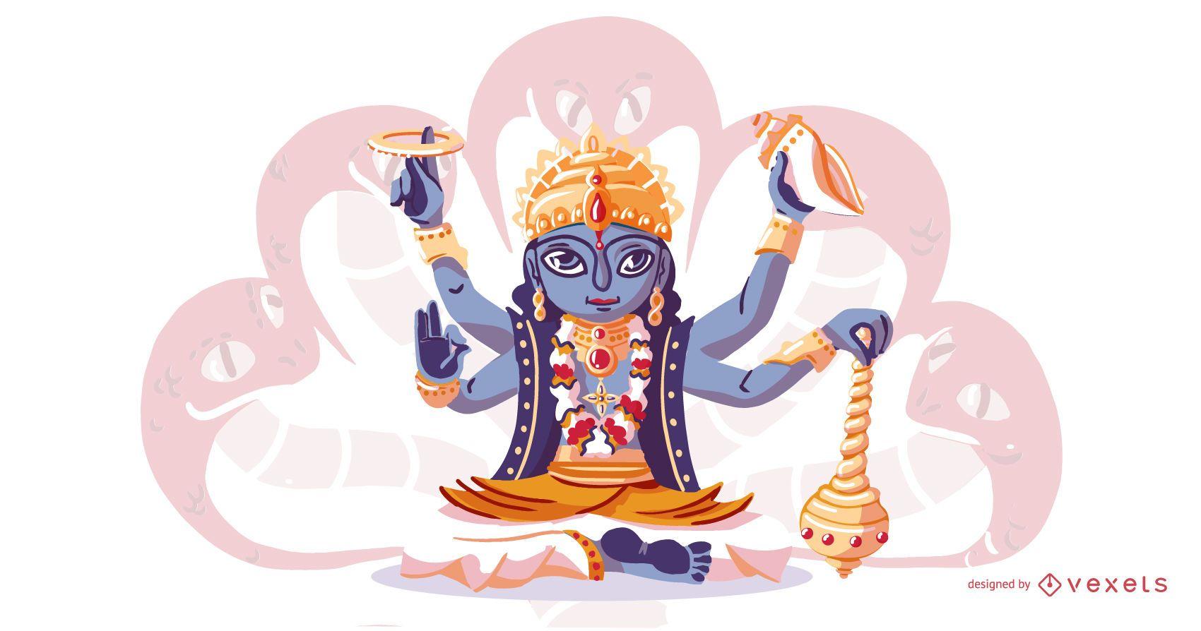 Hindu god Vishnu illustration
