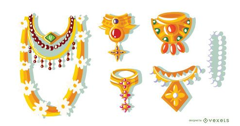 Hindu-Halsketten-Vektor-Set