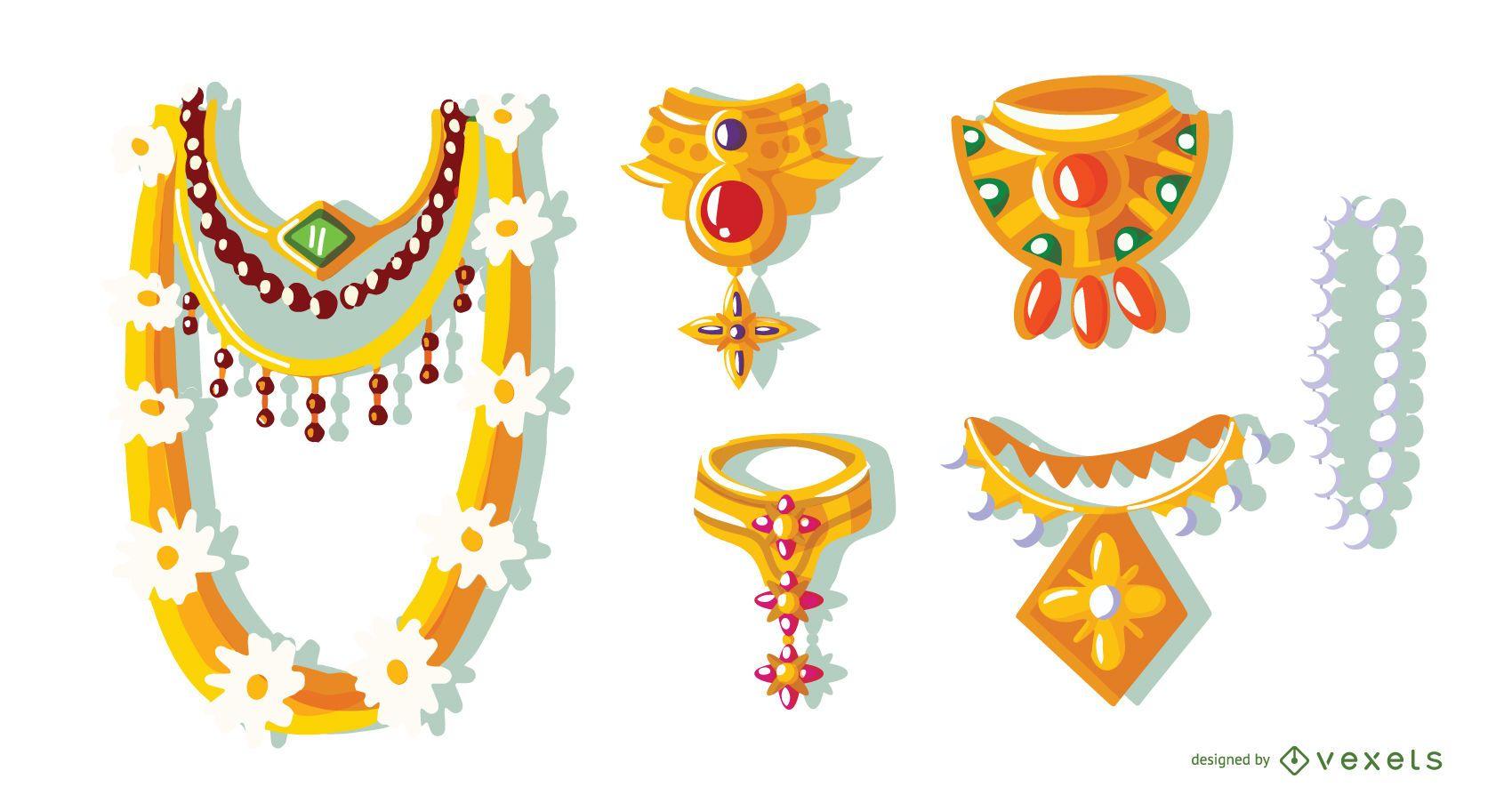 Hindu Necklaces Vector Set