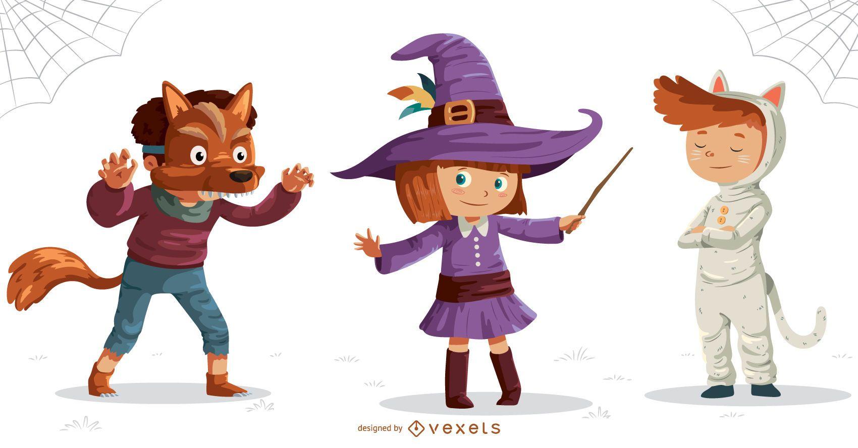 Conjunto de Halloween para crianças