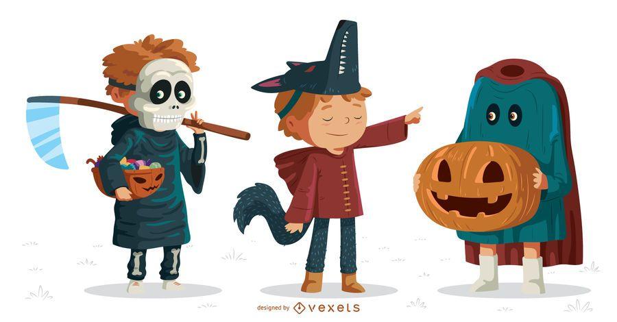 Halloween kids vector set