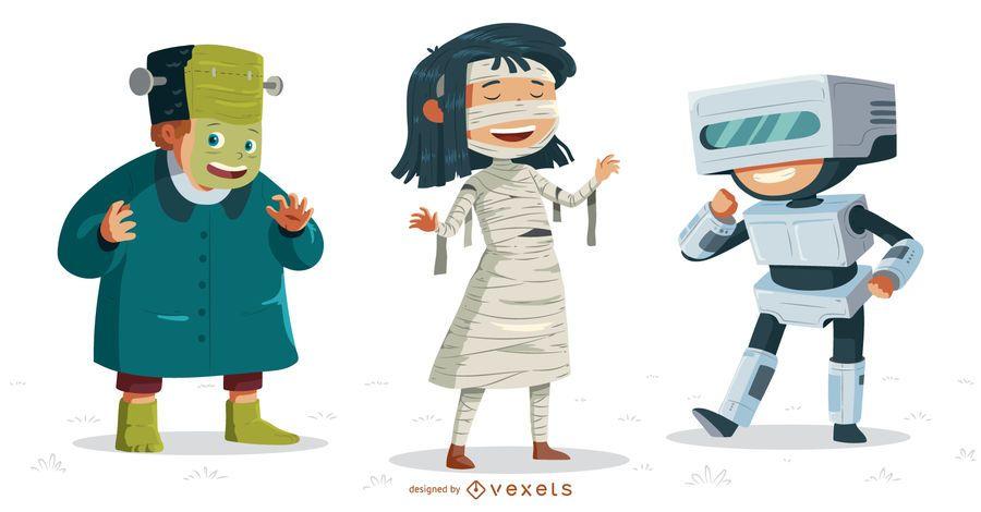 Kinder Halloween-Kostüme festgelegt